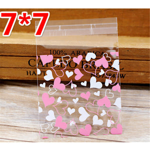 100 pcs/lot Candy Bags Colorful Transparent  Flower Heart -  cake lover