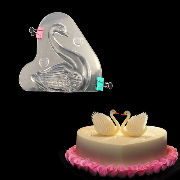 3D Swan Plastic Chocolate Mold -  cake lover