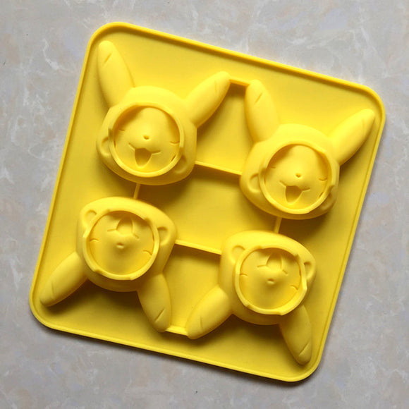 4 Holes Cartoon Pikachu Silicone Cake Mold -  cake lover