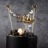 sweet crown swan happy birthday cake topper