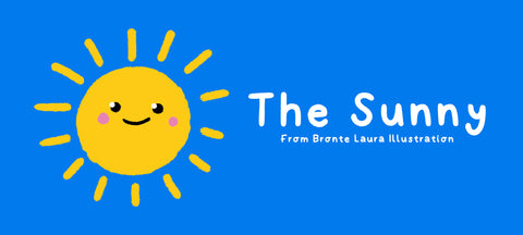 "Bright yellow sunshine illustration featuring the words ""The Sunny"""