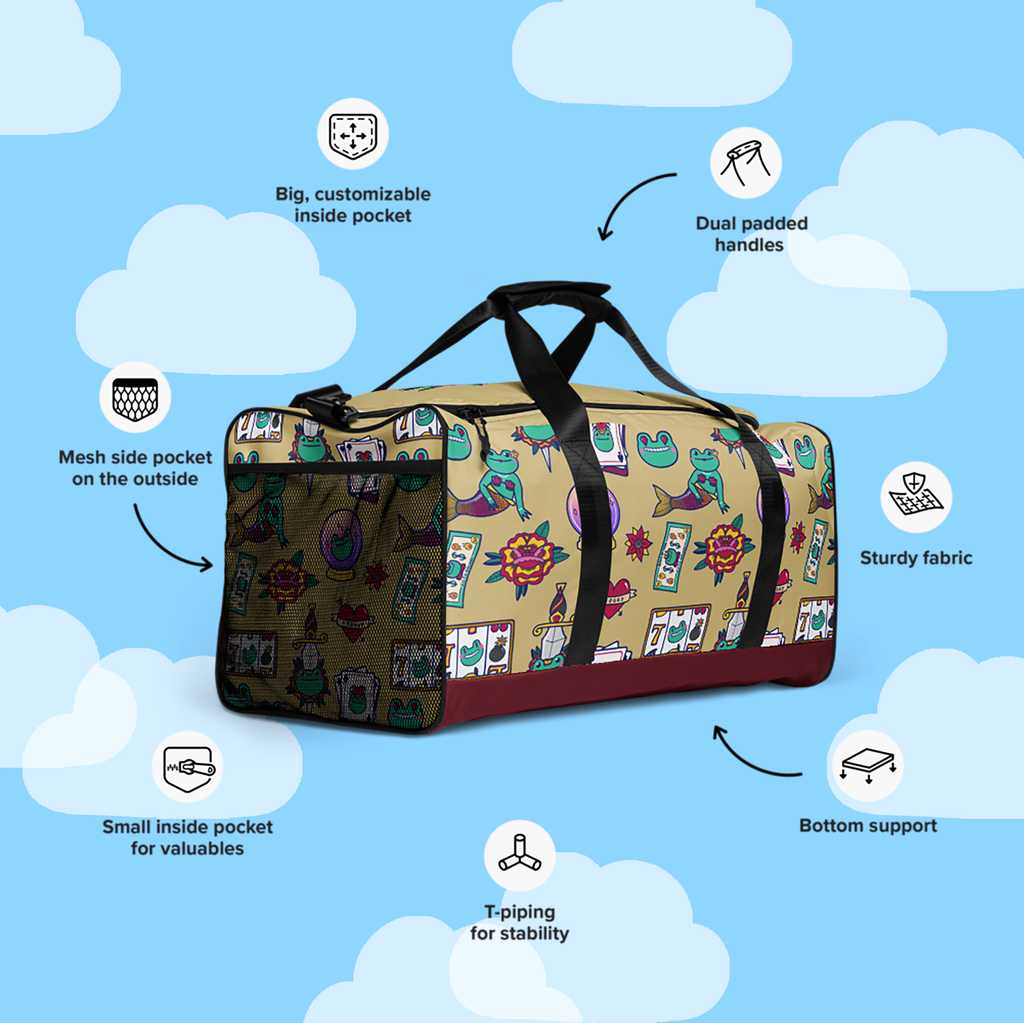 Traditional Tattoo Inspired Large Duffle Bag