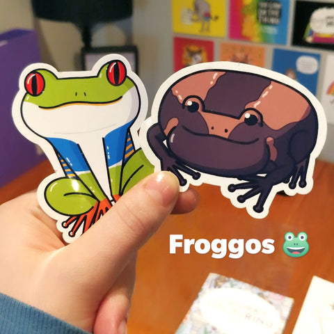 Vinyl stickers of cute frog illustrations