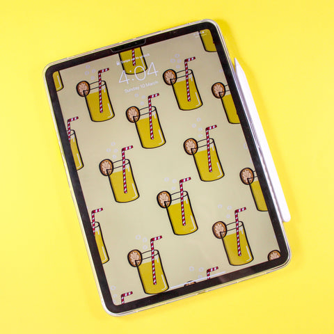 iPad Background Wallpaper featuring a yellow summery lemonade design, illustrated in Procreate