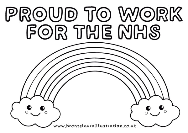 Proud to Work for the NHS Rainbow Colouring In Sheet