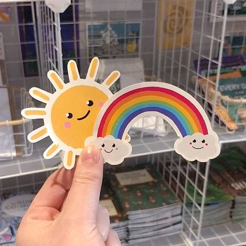 Bright and cut sun and rainbow vinyl stickers