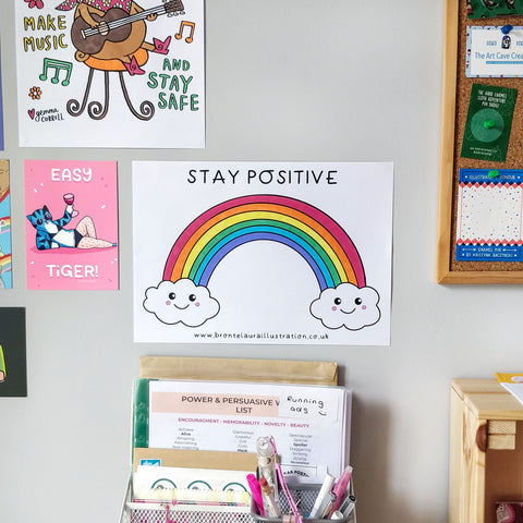 Stay Positive rainbow colouring in sheet