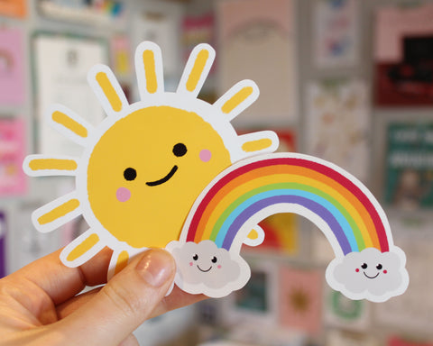 Bright and cheerful sunshine and rainbow stickers