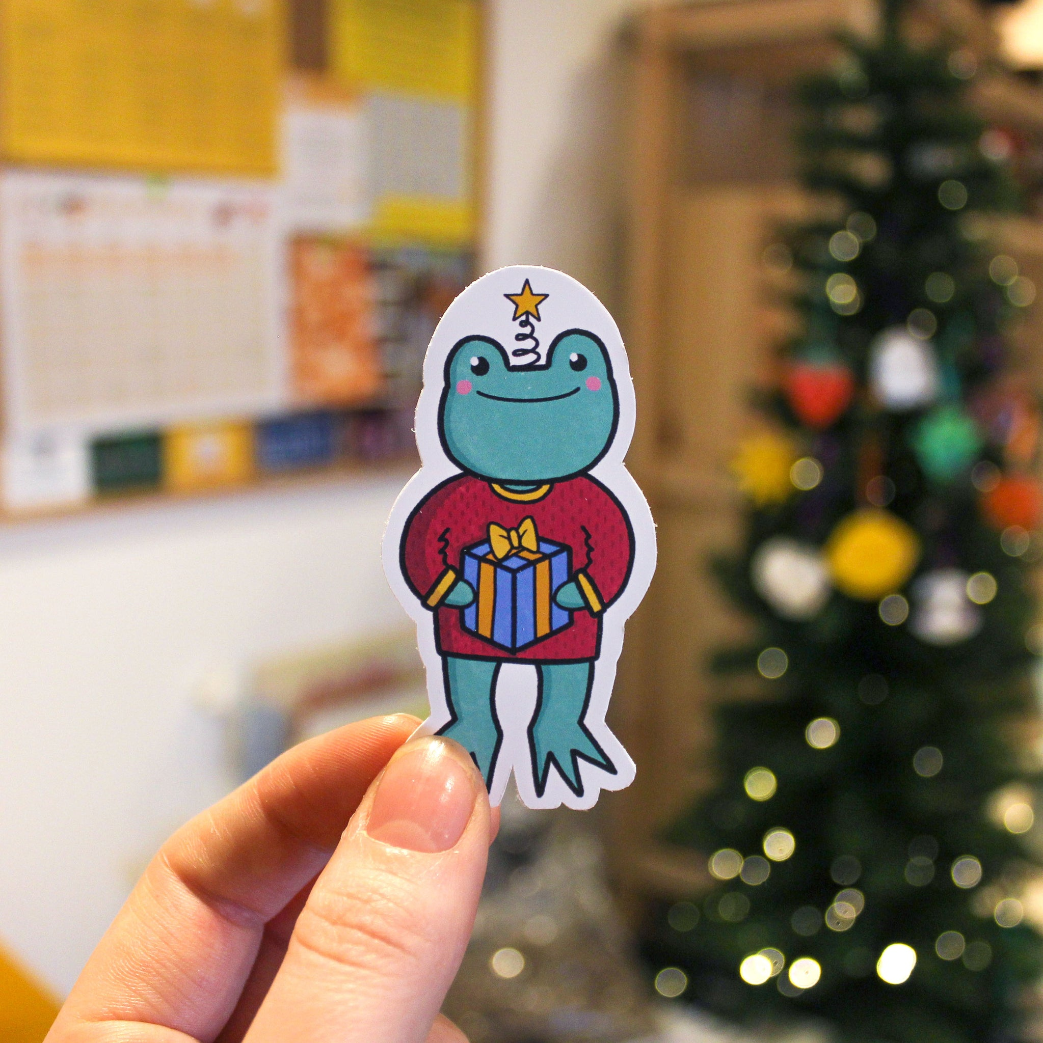 Christmas Frog Presents Sticker