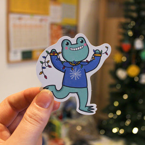 Christmas Frog Lights Sticker