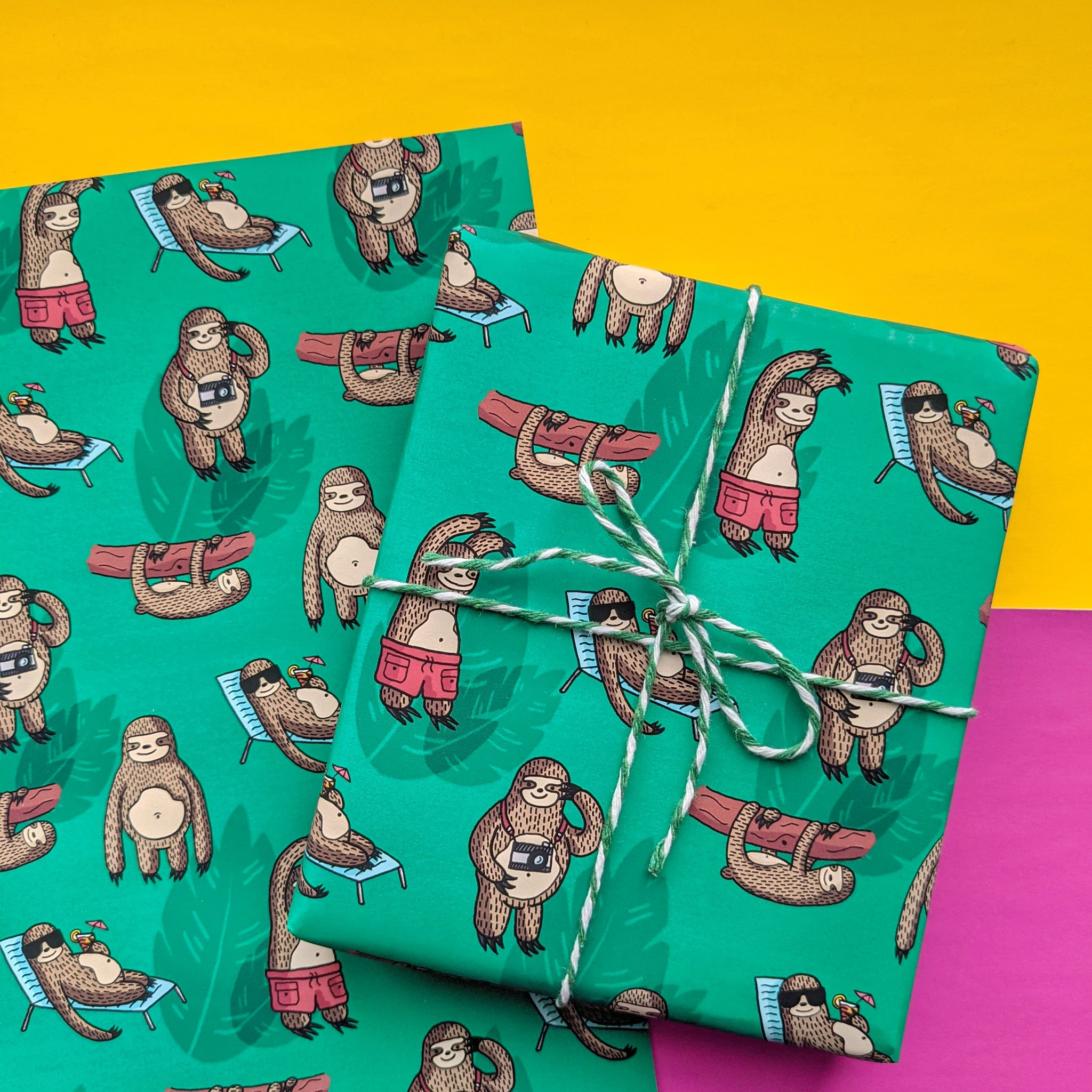 A4 Jungle Sloth Wrapping Paper