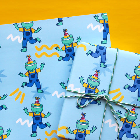 A4 Party Frog Wrapping Paper