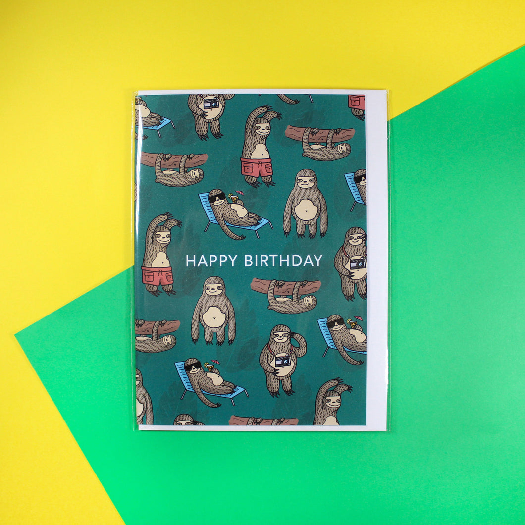 Jungle themed A5 birthday card featuring illustrated sloths. Handmade in Yorkshire.