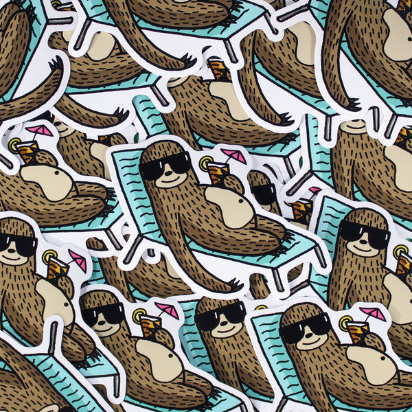Summer Sloth Vinyl Sticker