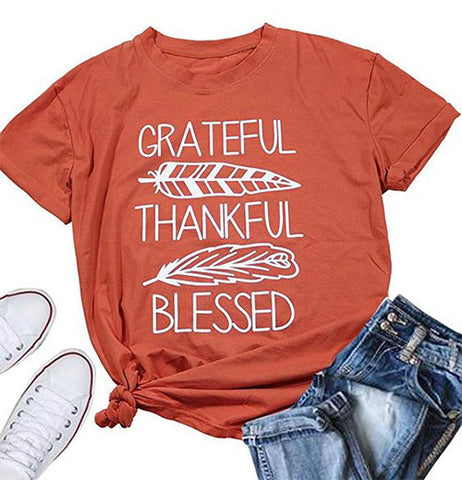 Grateful thankful blessed t shirt - RishWish