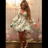 What Beyonce Wore - Puff Sleeve Floral Dress - RishWish