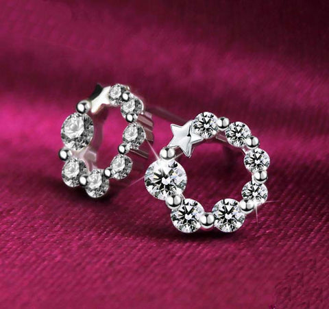 100% Real Sterling Silver Earrings Studded with  Zirconia - Extremely Low Price - RishWish