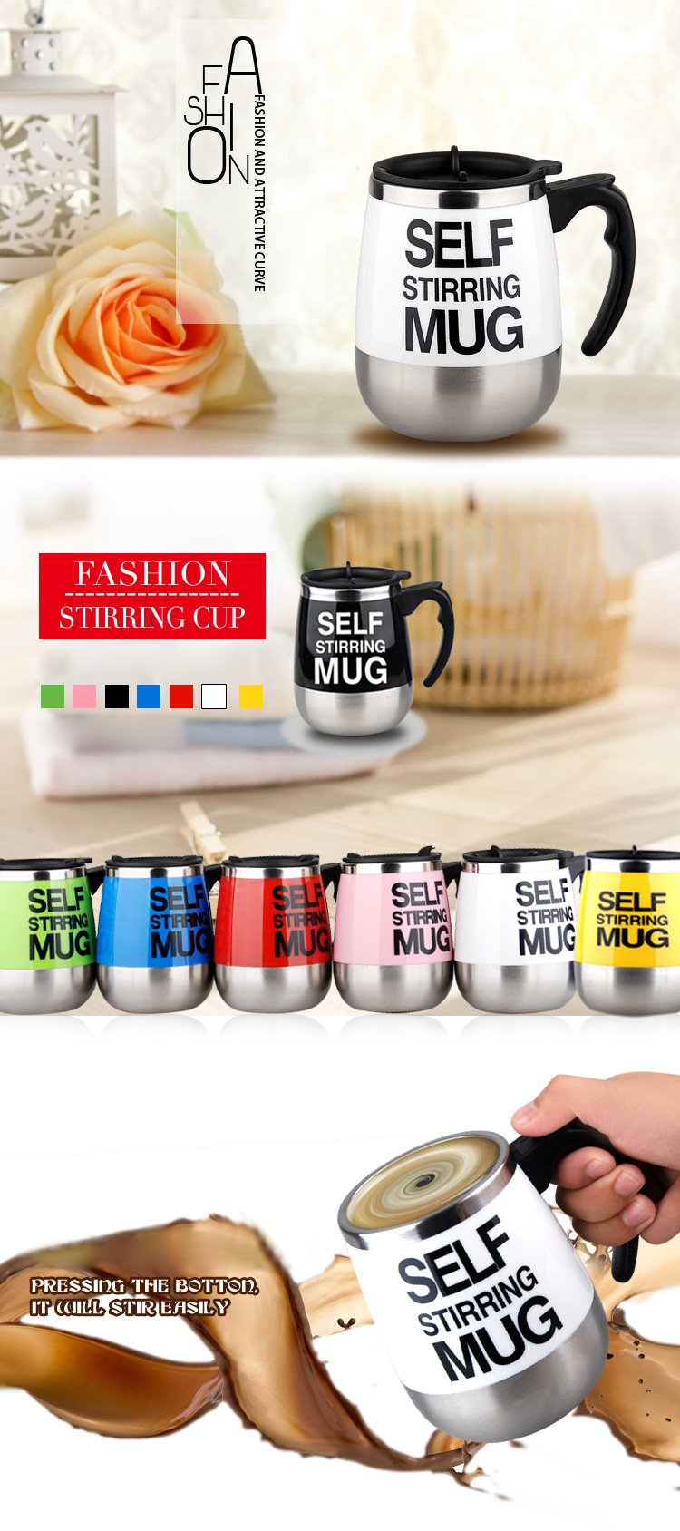 Automatic Mixing Coffee Cup Self Stirring Mug 450 ml - RishWish
