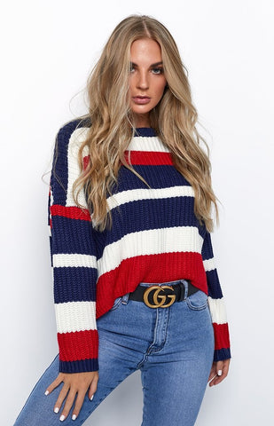 Anya Jumper Red & Navy Stripe - RishWish
