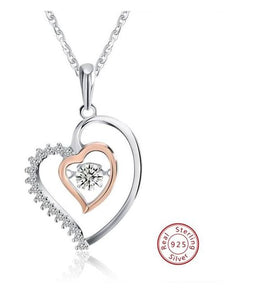 Double Heart  925 Sterling Silver Pendant Necklace - RishWish