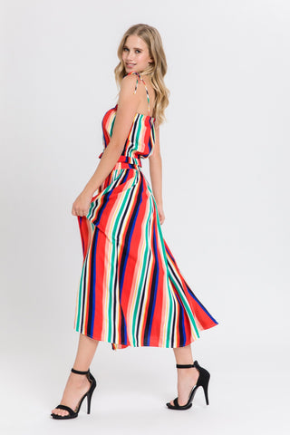 MULTI Rainbow Stripe Midi Skirt and Crop Top - RishWish