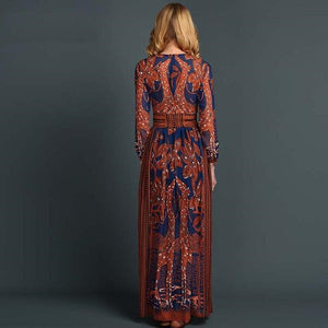 Valentino Style Long Animal Print Chiffon Maxi Dress - RishWish
