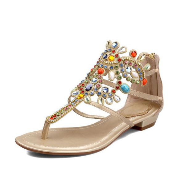 Rhinestone Women Embellished Flat Evening Sandals - RishWish
