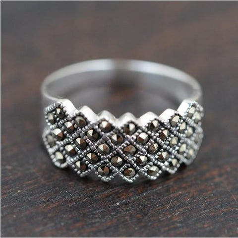Glitzy Rocks Sterling Silver Marcasite Fashion Ring - RishWish
