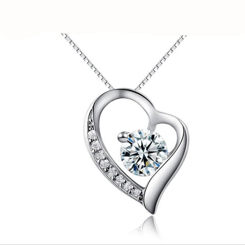 Sterling Silver Pendant Cubic zirconia  Crystal Heart Pendant great Holiday Gift - RishWish