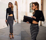 Two Piece  Striped Bodycon Dress - RishWish