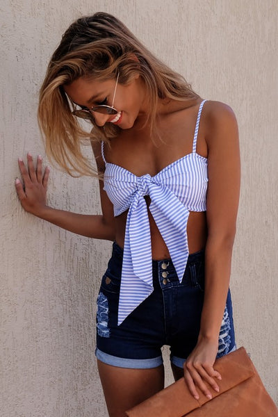 Blue White Striped Bow Accent Spaghetti Strap Cropped Top - RishWish