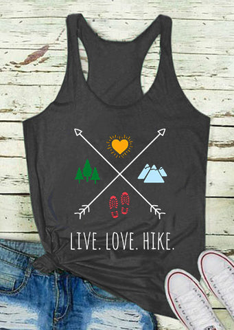 New Summer Tank Tops Women Live Love Hike Letter Arrow Print Tank Casual Female Dark Grey O-Neck Vest 2018 Ladies Tops Tee - RishWish