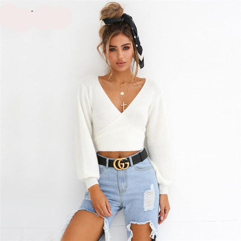 Jessie Off Shoulder V Neck White Sweaters - RishWish