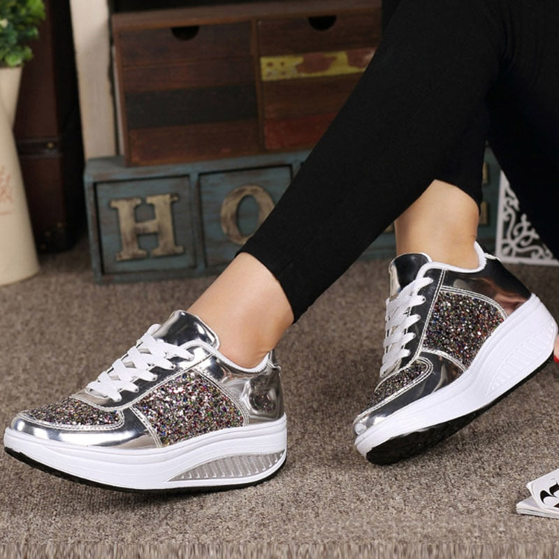 Fashion Sensored Glitter Sneakers - RishWish