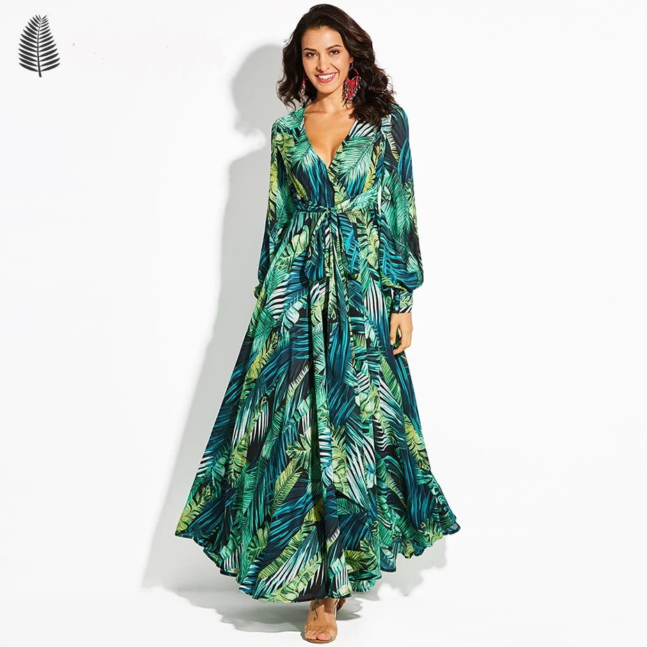 TROPICAL LONG SLEEVE BOHO DRESS - RishWish