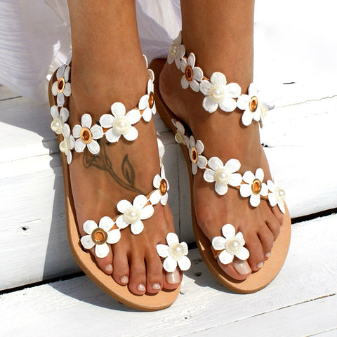 Ready for Summer -Pearl and Flower Sandal - RishWish
