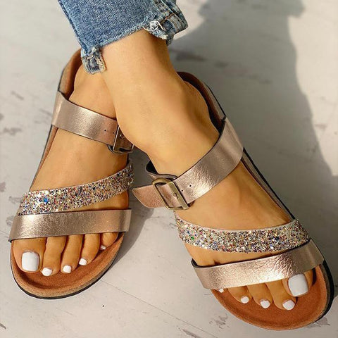 HEARTS AND HASHTAGS GOLD FLAT SANDALS - RishWish