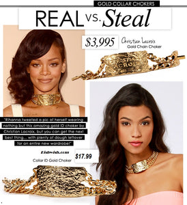 Going for Gold Over sized Choker Necklace-Rihanna Style - RishWish