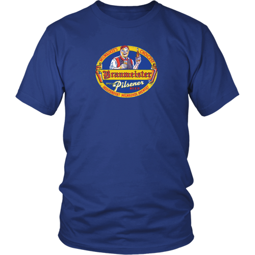 Braumeister Pilsner Milwaukee vintage t-shirt 100% cotton in color royal