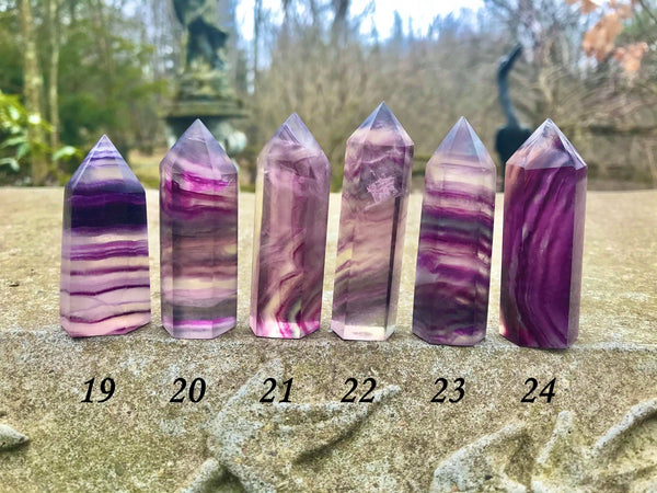 Rainbow Fluorite Towers ~ Pink and Purple Swiggly - Gem Realm