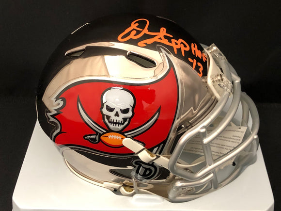 Warren Sapp Autograph Buccaneers Chrome Mini Helmet Signed In Orange