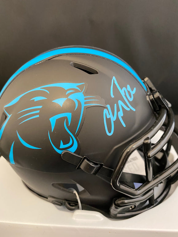 Christian McCaffrey Autograph Panthers Eclipse Mini Helmet