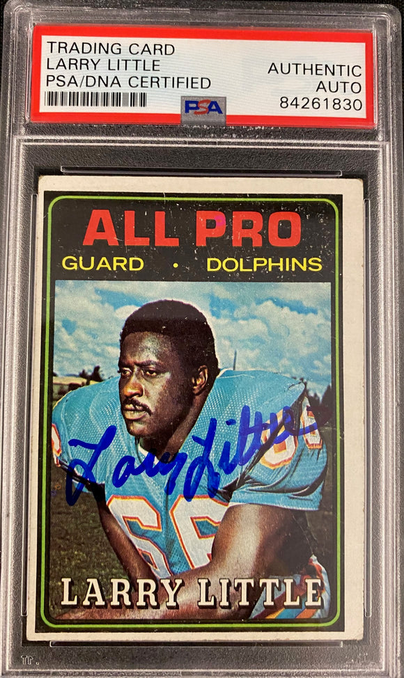 Larry Little 1974 Topps Autograph Card