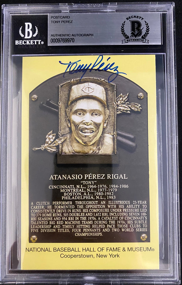 Tony Perez Autograph Hall OF Fame Post Card