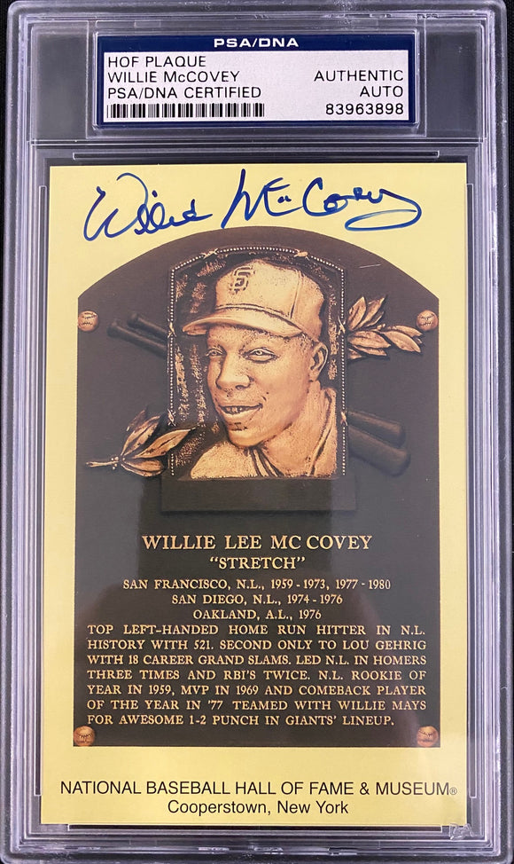 Willie McCovey Autograph Hall OF Fame Post Card