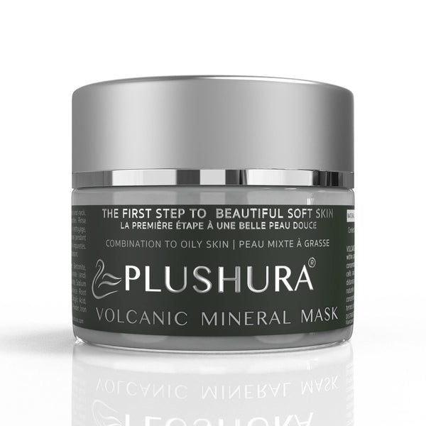 Plushura mindful skincare skincare Volcanic mineral mask Kaolin clay mask Bentonite clay mask the first step to beautiful soft skin Natural face mask for combination to oily skin  Self-care mask Wellness mask Slow beauty face mask