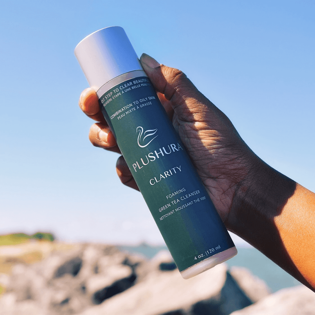 Plushura mindful skincare skincare. Clarity Green Tea Cleanser. The first step to clear beautiful skin. Natural skincare Vegan skincare Cleanser for combination or oily skin Gentle natural face cleanser slow beauty