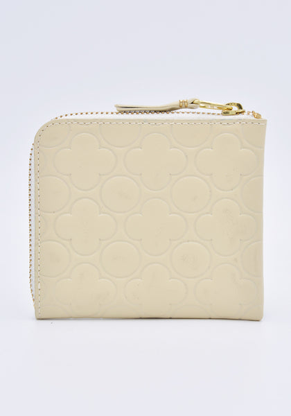 COMME DES GARCONS SA310EB EMBOSSED ZIP WALLET WHITE | DOSHABURI Online Shop