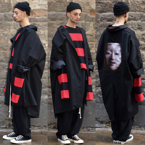 YUIKI SHIMOJI UNISEX OVERSIZE TRENCH COAT BLACK NOH MASK WOMEN - DOSHABURI Shop