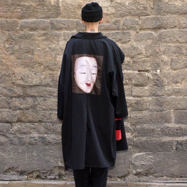 YUIKI SHIMOJI UNISEX OVERSIZE TRENCH COAT BLACK NOH MASK MEN - DOSHABURI Shop